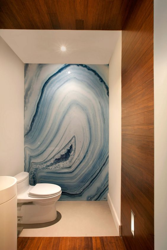 Go big or go home with onyx bathroom walls www.pinterest.com