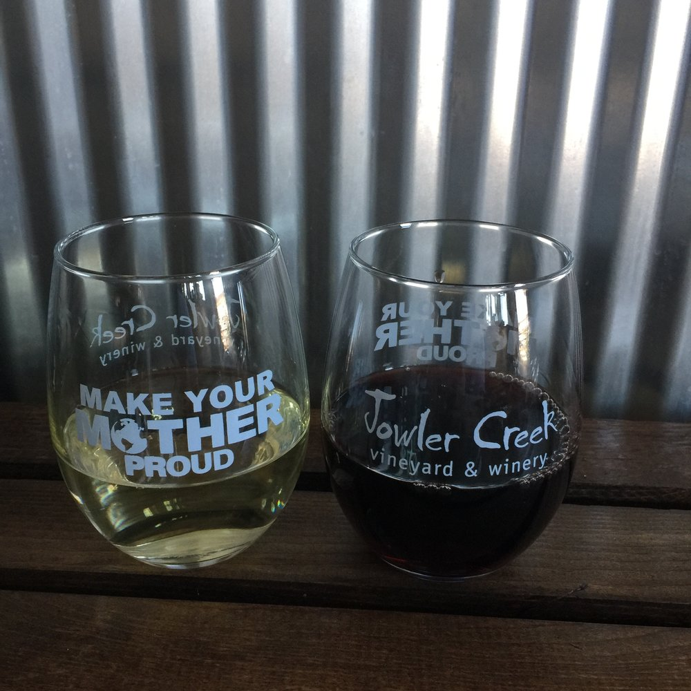 One of these new collector's series glasses comes FREE with each paid wine tasting.