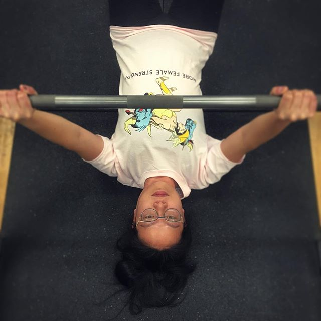 #WarriorWednesday with @stinersss in the Minotaur shirt, knocking out some floor presses! (Shop link in bio!) #showusyourmerch #morefemalestrength