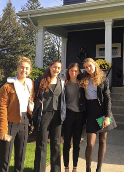 Kennedy Munz, Katie Hall, Julia Madsen, and Lila Fremont-Smith (from left to right) attend the Young Women's Business Leaders Conference at Harvard University.