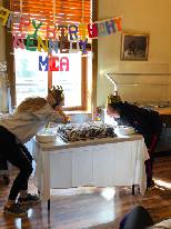 :Kennedy Munz and Mia Campbell celebrating birthdays on the retreat.