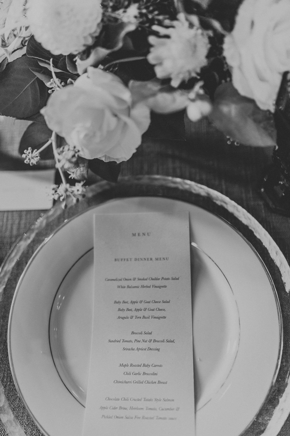 Serif, clean and modern menu for wedding in Victoria BC