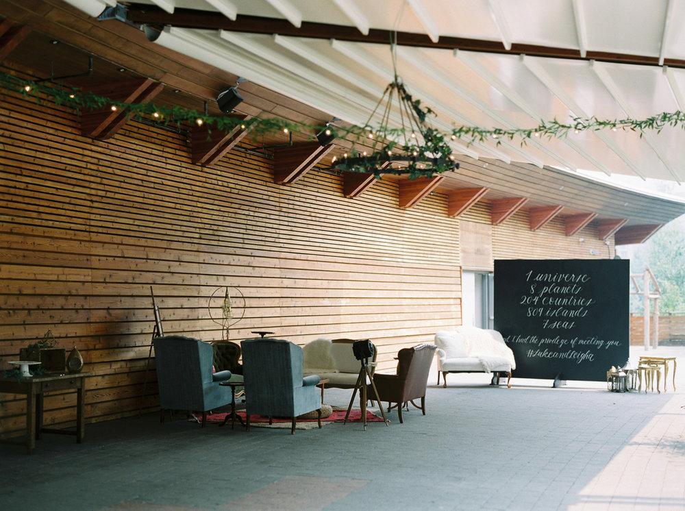 Backdrop for wedding in whistler, brush lettering by Liza Child Design