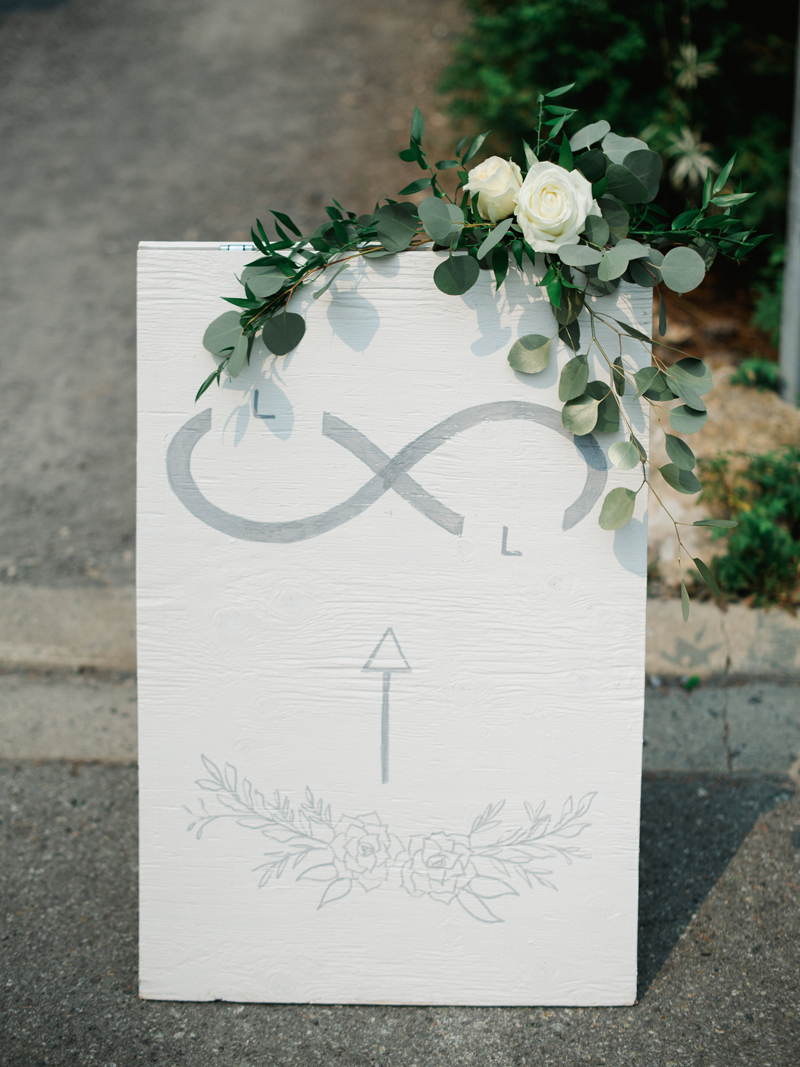 Modern logo for a wedding and their welcome sign to their Whistler Wedding by Liza Child Design