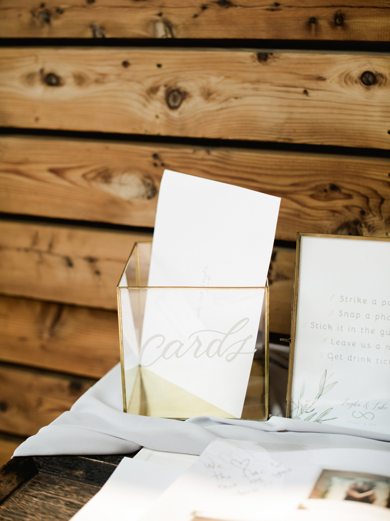 Brush Lettering Cards box for the wedding of Luke and Leigha in BC Canada
