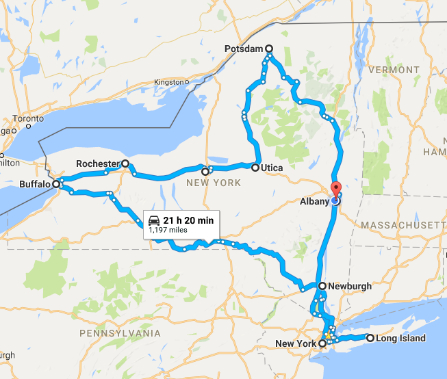NYS Road Trip Map