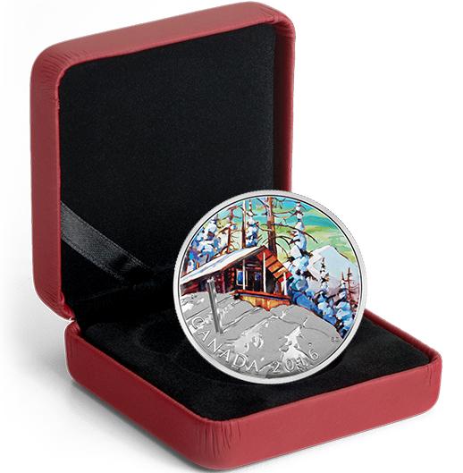 - 1 oz. Fine Silver Coloured CoinCanadian Landscape Series:-Ski Chalet -