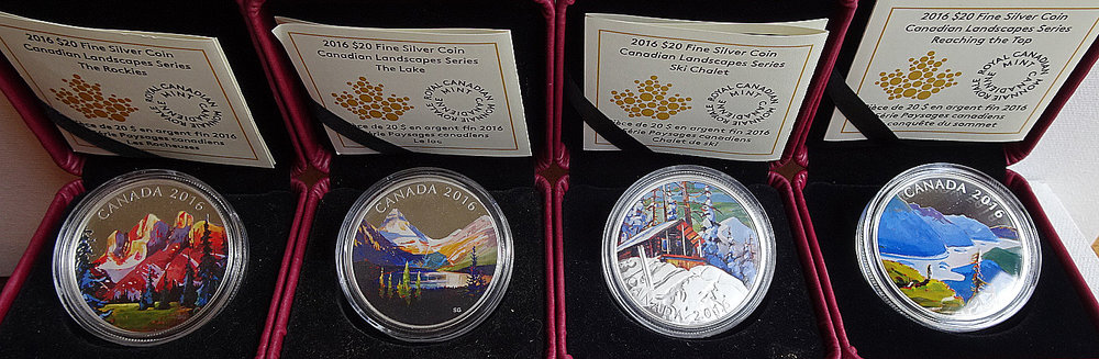 1oz. Fine Siver Coloured $20 Coins