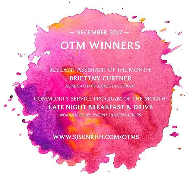 Congrats to the December OTM Campus Winners! #happyOTMwriting #SJSU