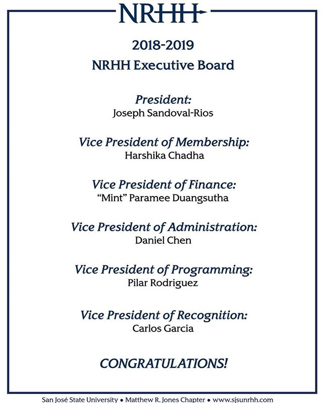 Congratulations to the 2018-2019 NRHH Executive Board! 💎💛 #DiamondLove #sjsuNRHH #SJSU