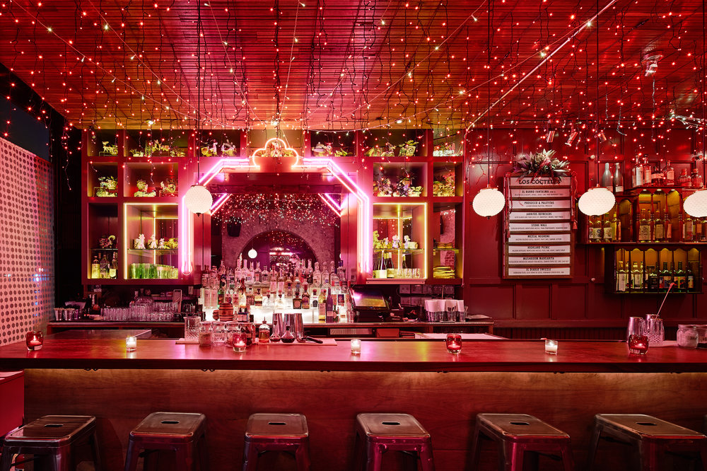 empty bar with neon lights