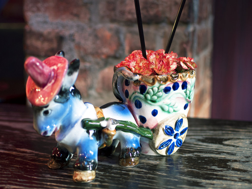 ceramic donkey with cart