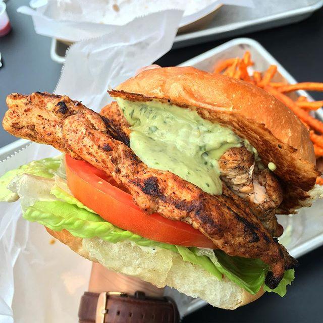 Spicy grilled chicken sandwich - extra avocado ranch, always 🙌🏼 #lunchtime #gwmarket