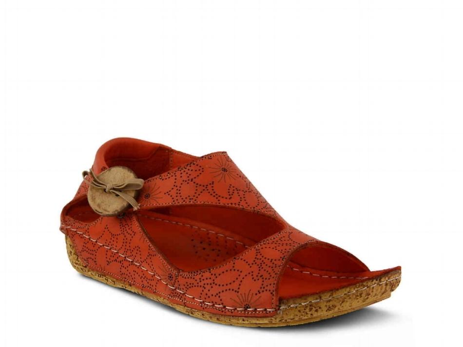 Spring Step Lorelle Wedge Sandal - Red(PC: DSW.com)