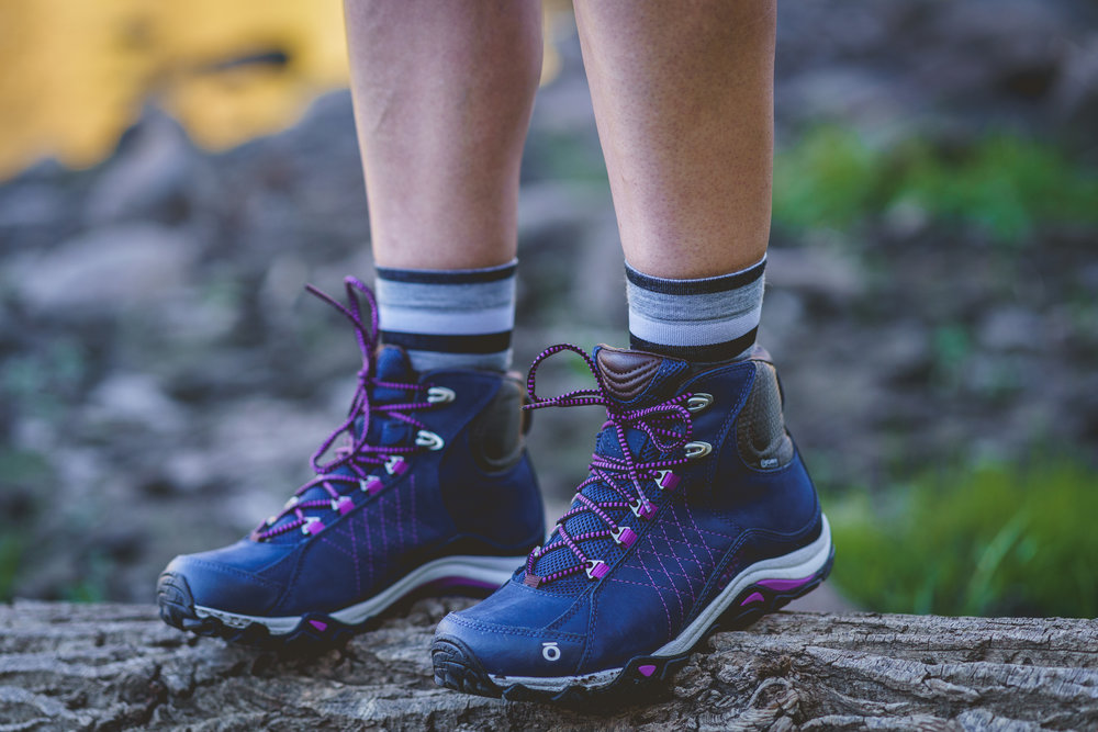 """Oboz Sapphire Mid Waterproof - Voted """"Best Women's Specific Fit,"""" Backpacker Magazine 2018, hit your favorite trail with confidence and support knowing that Bozeman, MT has your back!Uses: Hiking, WorkingModel/Photog: Mel Ponwith/Cole Davis"""
