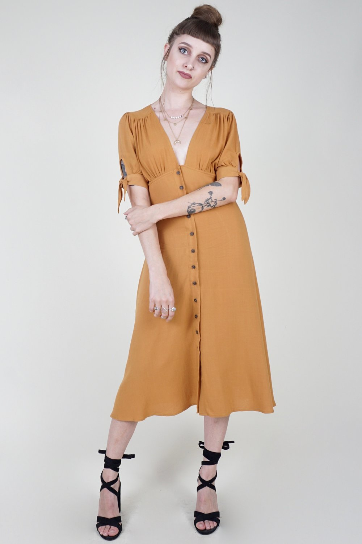 Shanti Tie Sleeve Dress - Mustard .jpg