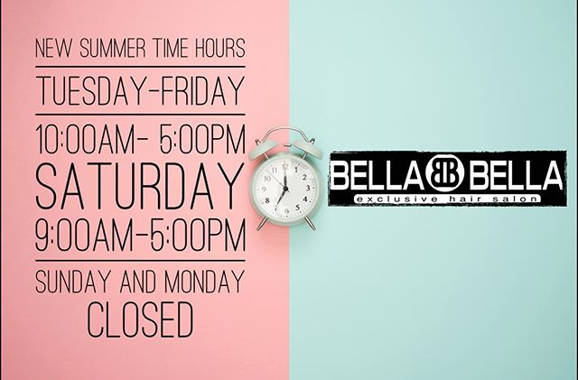 🚨New Summer Hours🚨 call or dm us to book your appointment today. #bookwithus #bellabellahairsalon #smallbusinesscctx #corpuschristi #corpuschristitexas #salonscorpuschristi