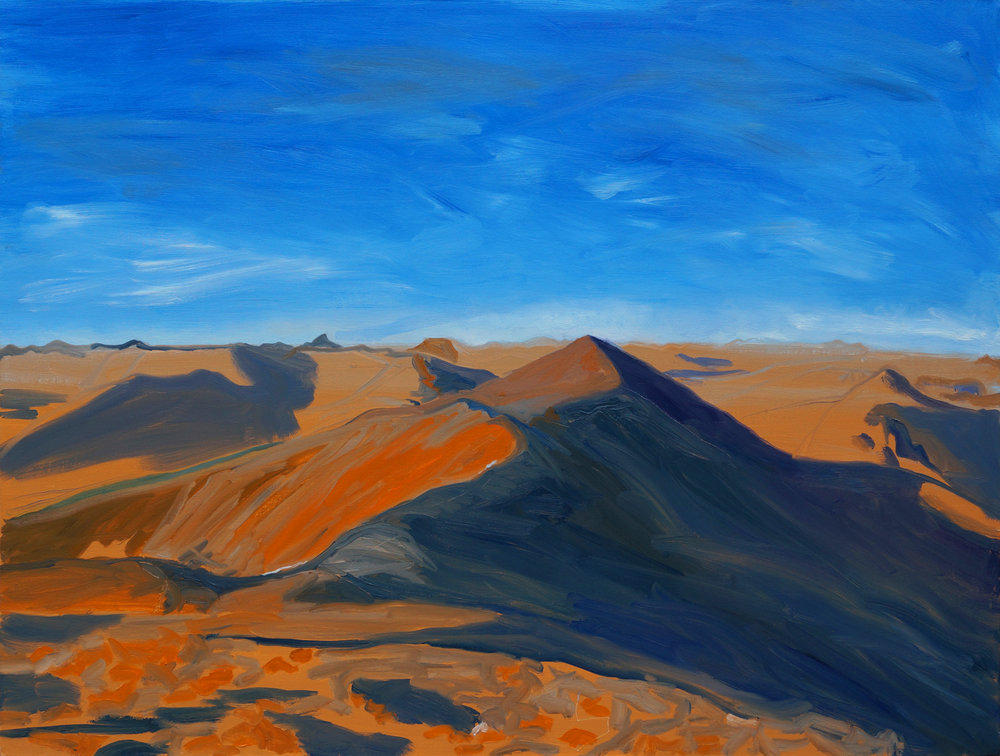 "Wake-up Redcloud! View from Mt. Sunshine, 36"" x 48"", 2017"