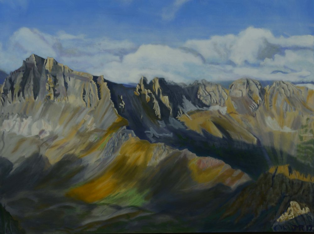 "Morning light from Mt. Sneffles, 36"" x 48"", 2017,"