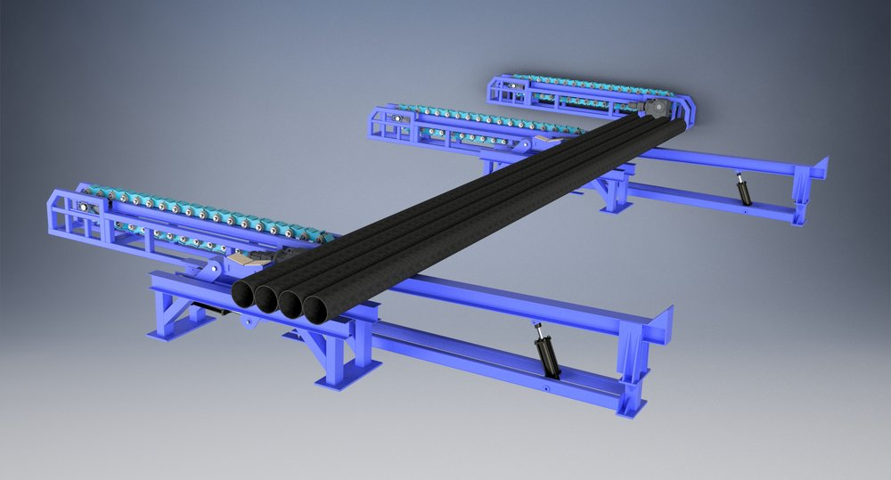 CHAIN CONVEYOR - Garneau chain conveyor is ideal for steady controlled movement of all pipe sizes and can be used in conjunction with other Garneau rack and kicker systems.
