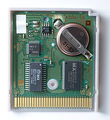 """An opened  Game Boy  cartridge with battery-backed  volatile memory  for game saves. Measures 2.2"" × 2.56"" × 0.32"" (or 56 mm × 65 mm × 8 mm)"" -wiki"