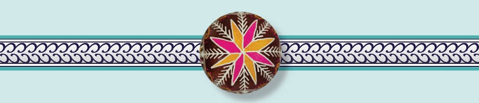 Decorative border displaying the top of a  pysanka.