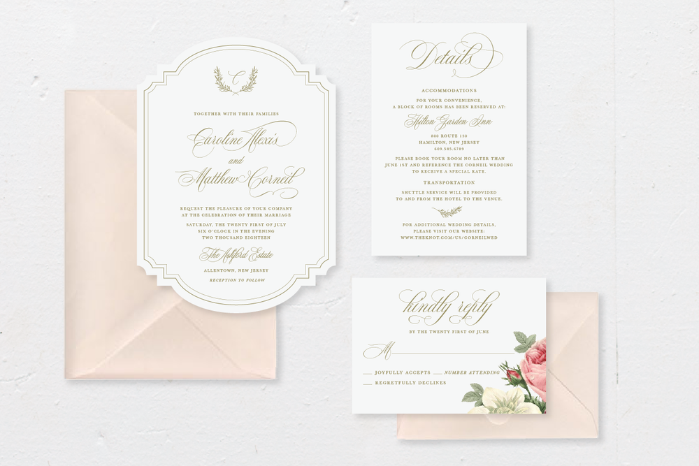 5-PIECE SUITE - Includes: die-cut invitation + envelope, response card + envelope, 1 details card