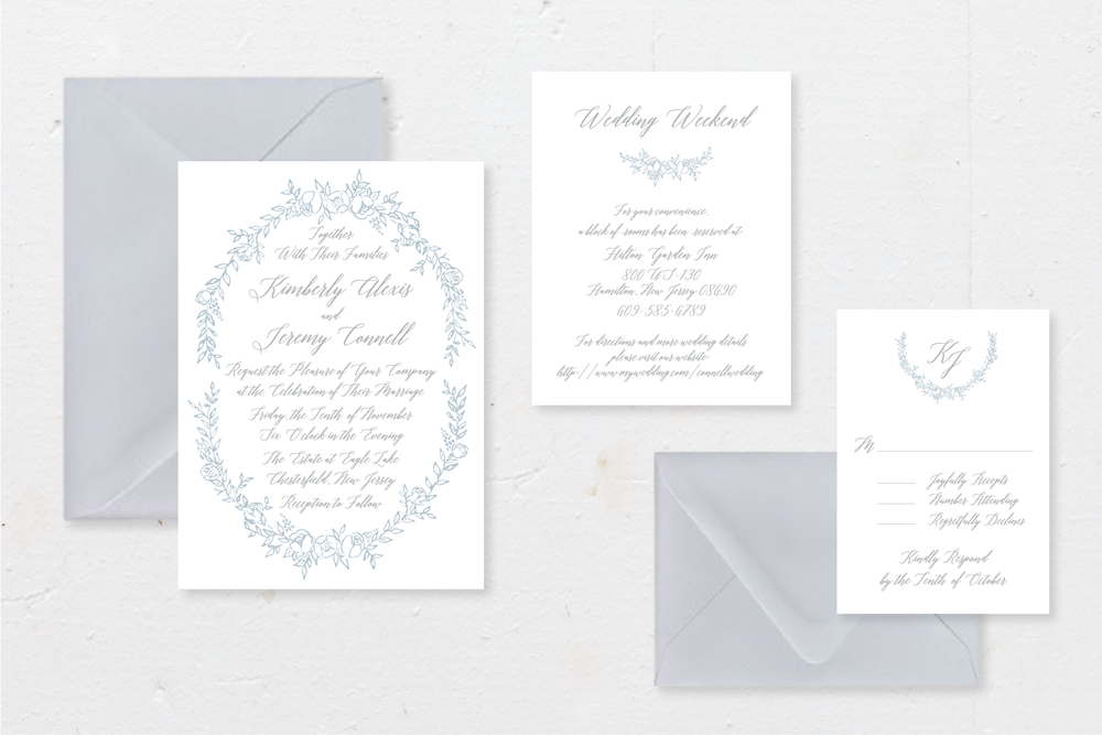 5-PIECE SUITE - Includes: invitation + envelope, response card + envelope, 1 details card