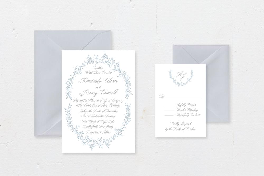 4-PIECE SUITE - Includes: die-cut invitation + envelope, response card + envelope