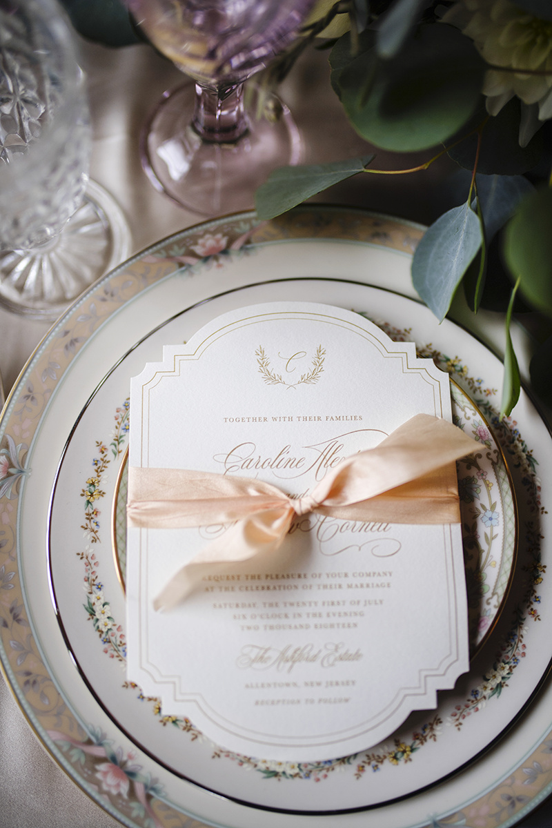 Grace Starr Photography  The Savannah invitations  from my Semi-Custom Collection were a great fit for this shoot.  The perfect amount of glam and vintage with the gold text and die cut invitation tied together with a pale peach silk ribbon.