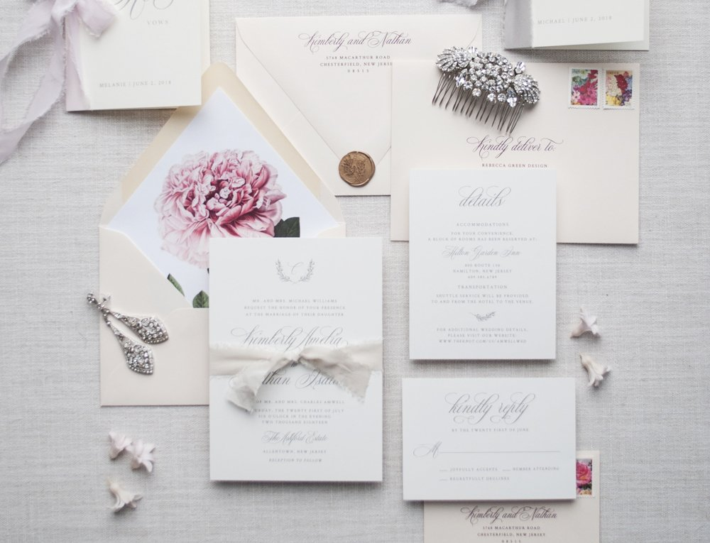 The Kimberly - Chic and sophisticated, the Kimberly Invitation features gorgeous script, a delicate hand drawn wreath with monogram and the most beautiful pale pink envelopes. Add a bold vintage peony envelope liner, a luxe hand-dyed silk ribbon and/or a wax seal to make this suite truly unique.
