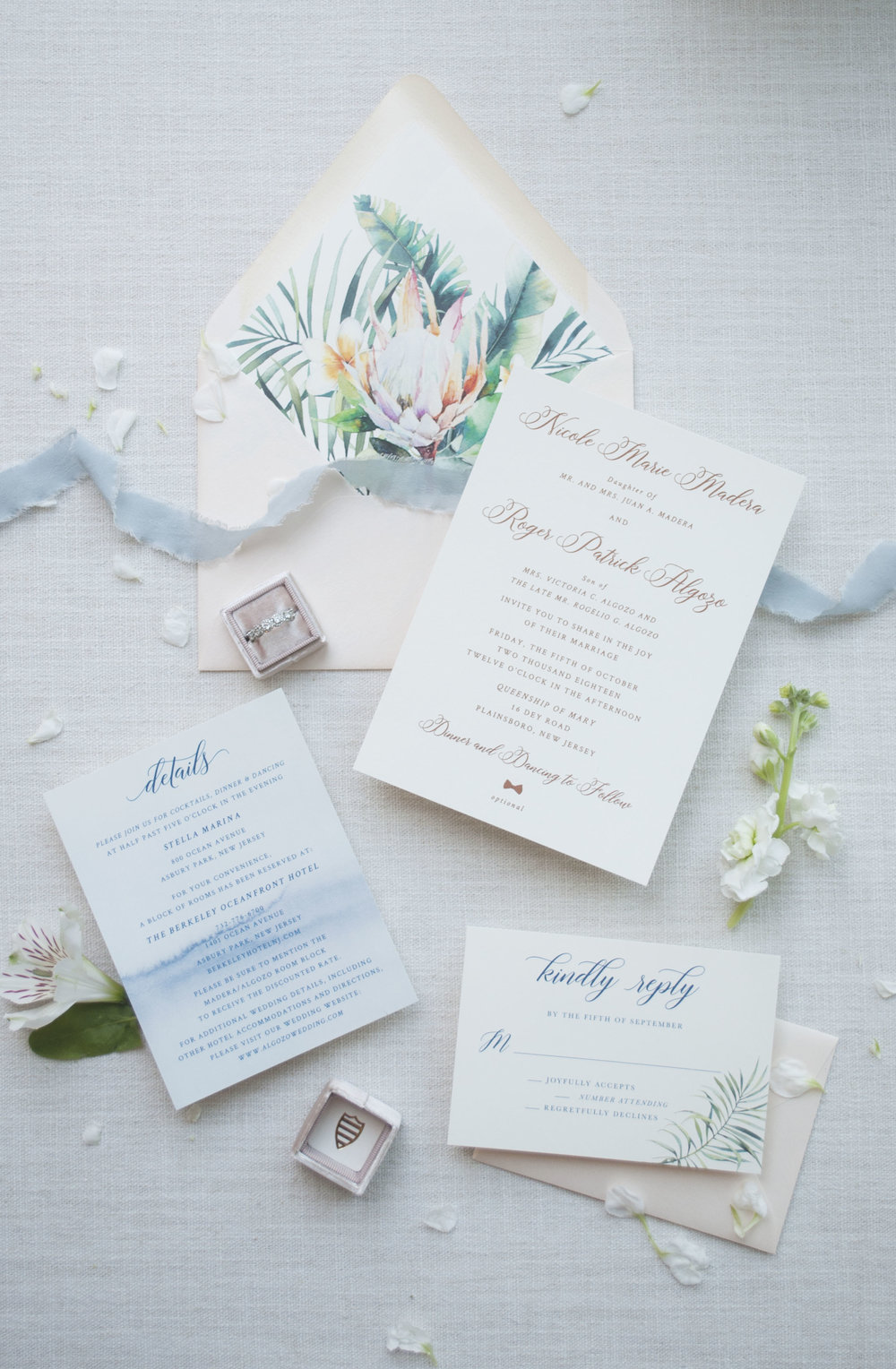 Rose Gold Foil Invitation Suite with Protea Watercolor Envelope Liner