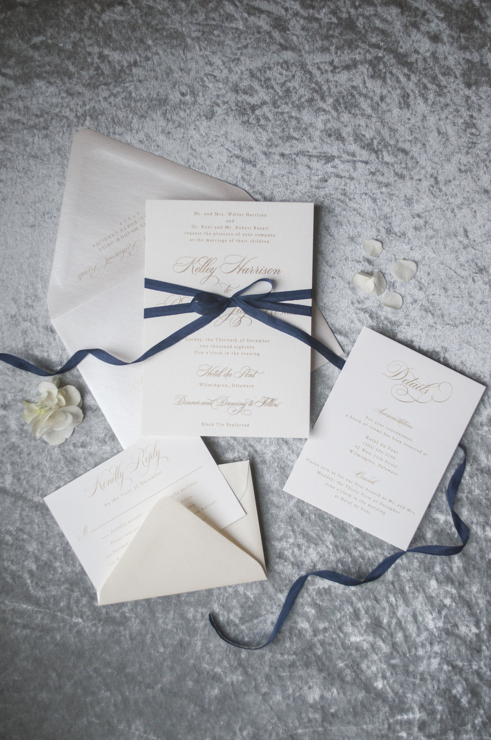 Navy and Gold Foil Wedding Invitation Suite