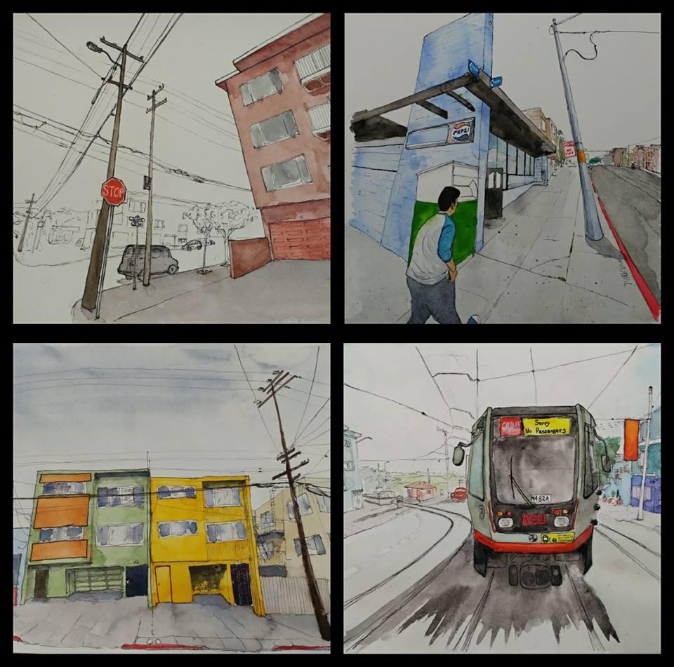 DOUGLAS GORNEY RHONEL ROBERTS ONEPIECE GALLERY - SAN FRANCISCO IN MY HEARTOnePiece414 Brannan St., San FranciscoOriginal watercolors, drawings and prints9/23-10/31 2017