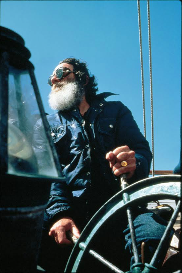 """The breeze… - …was light that day, underscoring the power of the swell, and 41- year-old Jack O'Neill—still seven years away from the surf injury that would leave him with the iconic black patch over his left eye—was sailing his Pacific Catamaran, or """"P-Cat,"""" just off of Lighthouse Point, making a line into position for an inconceivable takeoff on one of the mountains of water piling high on the far outside."""
