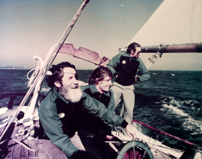 Jack and son Pat O'Neill give 1977 surfing world champion Shaun Tomson (center) a tour of the Monterey Bay.