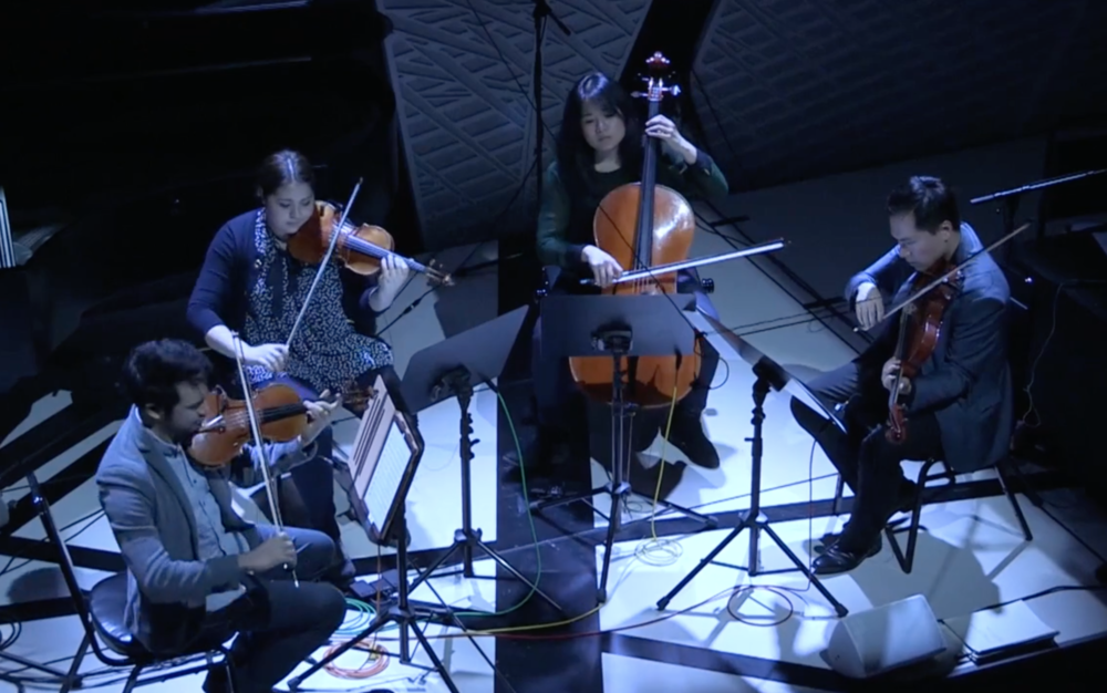 Violinists Suliman Tekali and Adelya Nartadjeva, Violist Andy Lin, Cellist Julia Yang, and composer Ryan Homsey performing Recurrent Stages National Sawdust in Brooklyn