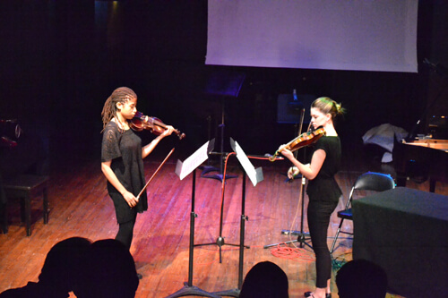 Leigh Wallenhaupt and Joelle Britt performing  Partner Sequence  at the Flea Theater,NYC