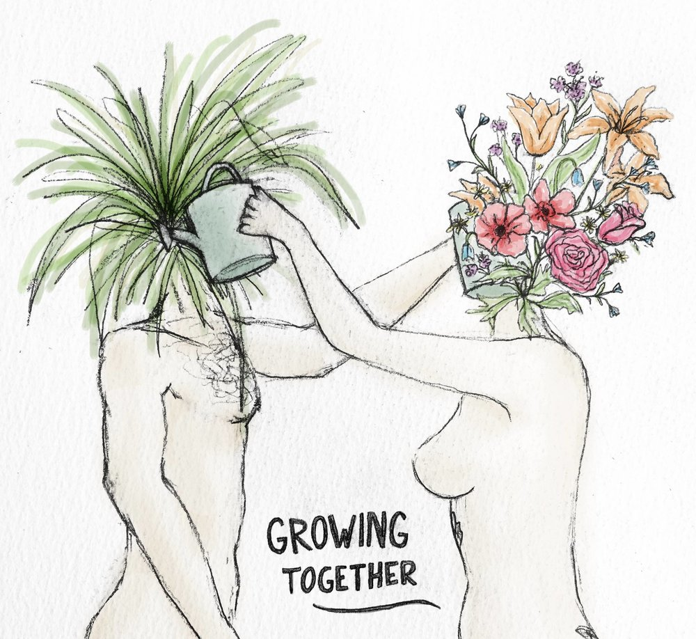 Illustration by Chloe Waretini   Growing together, Vulnerability for breakfast . Daily mutual life coaching with Chloe turns up the colour and possibility in my life. <3