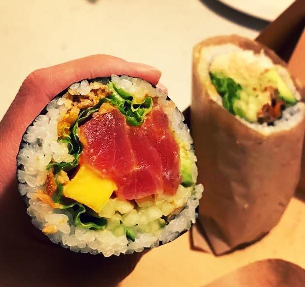 The Mango Ahi Poke B-ritto: Ahi Tuna, Fish Egg, Avocado, Cucumber, Mango, Green Leaf, Fried Onion with Spicy Garlic Sauce
