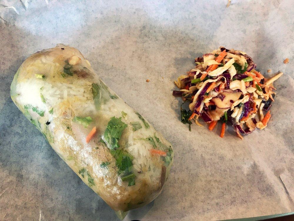 "My favorite wrap at Lona's is the Lemongrass Turkey: smoked turkey, jasmine rice, lemongrass pesto, salad mix, herbs, all wrapped in the ""original giant rice paper wrap""."