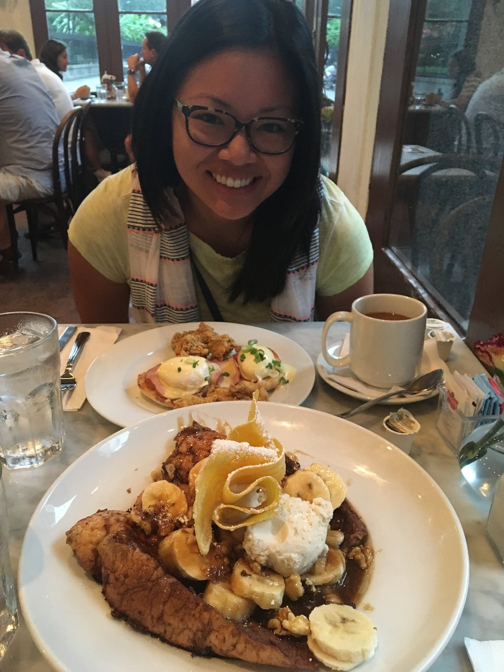 - Cornmeal-crusted oysters and let's face it- dessert in the form of French toast. Amazing.