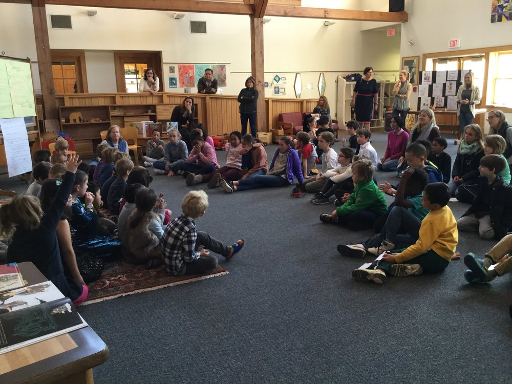 K/1 Inventors share their recent unit of study at an All School Gathering