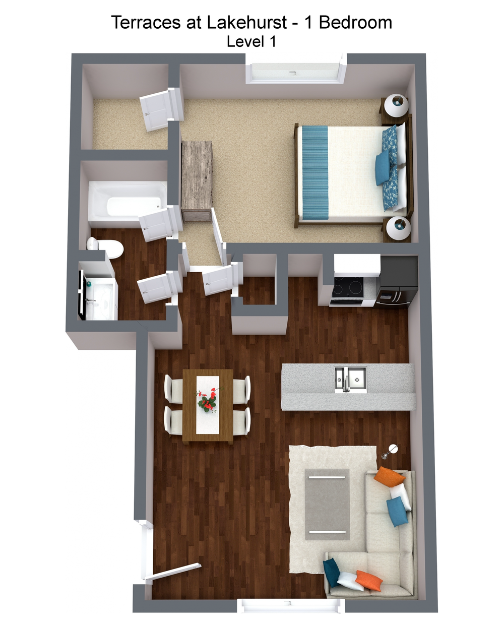 Terraces at Lakehurst - 1 Bedroom - Level 1 - 3D Floor Plan.png