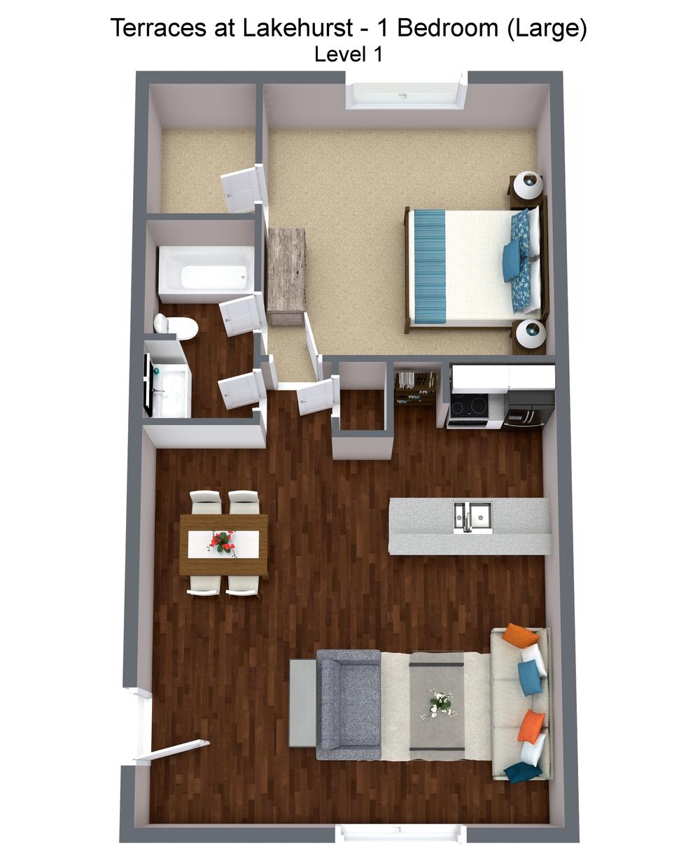 Terraces at Lakehurst - 1 Bedroom (Large) - Level 1 - 3D Floor Plan.png
