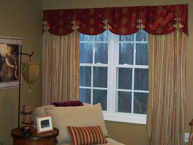 As the cold starts to settle in, make sure you layer your window fashions to prevent the cold from getting in and your expensive heat from getting out. For this client, I layered a cellular shade hidden under a valance and added interlined side panels to maximize insulation and save them big bucks on energy costs!
