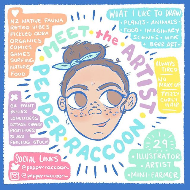 Meet The Artist 2019! This is such an improvement on the last one of these I did. 😂😂😂 It's so nice to meet you, follow along for art love! ——————- #pepperraccoon #meettheartist #meetthemakers #allaboutme #nzart #nzartist #nzillustrator #newzealandartist #nzcreator #patreoncreator #patreonartist #yournewbestfriend #nicetomeetyou #gettoknowme #helloartist #stuffilike #meettheartist2019 #meettheartistmeme #meettheartists