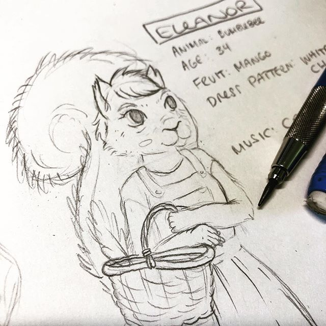 "Working on my drawing of Eleanor, the owner of the caravan from my last post! I did a live stream of turning this sketch into a digital outline today, and folks were asking HEAPS of questions about Eleanor and her life. Luckily, I already asked her a lot of these questions, so I was ready!  Age: 34 Job: Ceramic squirrel gnome painter Favourite song: ""Lookin' Out My Back Door"" by Creedence Favourite animal: Bumblebee 🐝  Favourite fruit: Mango 🥭 Unfortunately she's not allowed to have a pet bumblebee at the caravan park, they are known for digging holes and buzzing loudly at odd hours! Bad bumblebees!  Anyway, I'm looking forward to sharing Eleanor's portrait as it grows into a full artwork. Watch this space! ———————— #pepperraccoon #characterdevelopment #visualstorytelling #squirrelsofinstagram #squirrels #squirrelgirl #nzart #nzartist #nzillustrator #workinprogressart #sketchbooks #sneakapeek #squirrelsquad #anthropomorphic #squirrelsofig #charactersheet #characterart #pencildrawings #pencilsketches #workingonsomething #newzealandartist #newzealandart #womenofillustration"