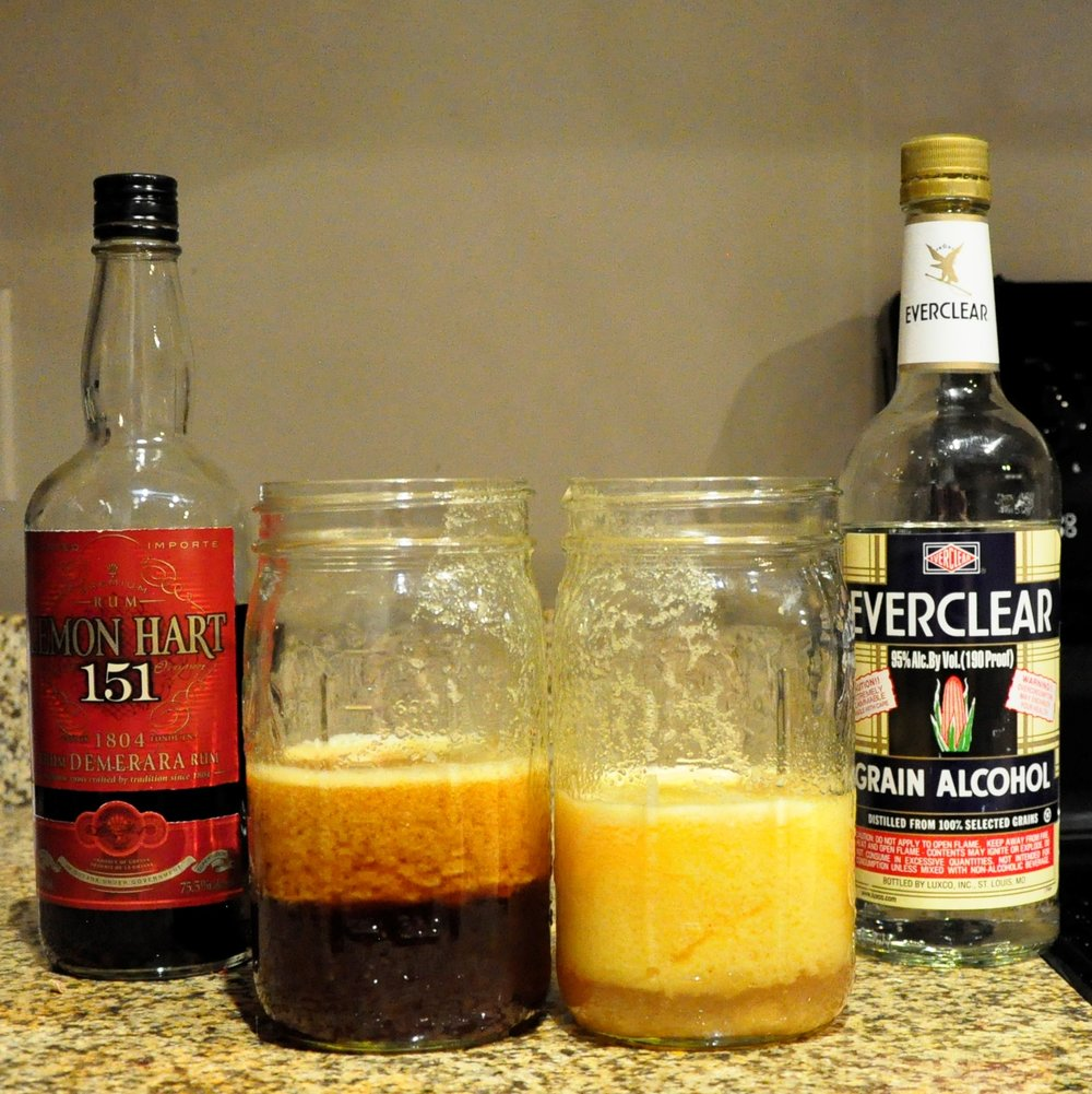 The jar on the left had liquor added to it a few minutes ago and the solids are already beginning to clump. The jar on the right just had liquor added to it.