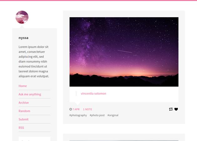 Nyssa - ビビットなピンクがアクセントになったお洒落なテーマ。吹き出しになっているのがかわいい。